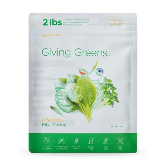 Producto : Giving Greens Drink de la gama Slenderiiz de Ariix-NewAge