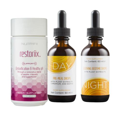 Produktpaket: Restoriix + Tropfen Tag & Nacht - nutrifii - ariix - newage - detox + Schlankheitskur