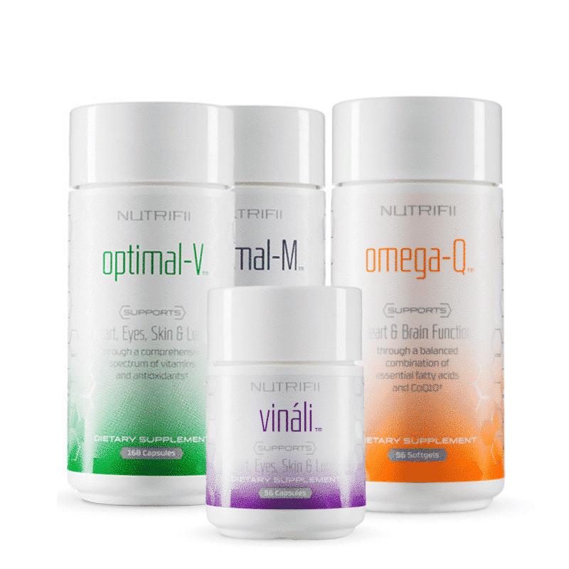 nutrifii óptima nutrición pack - vinali - óptimo-v - óptimo-m - omega-q
