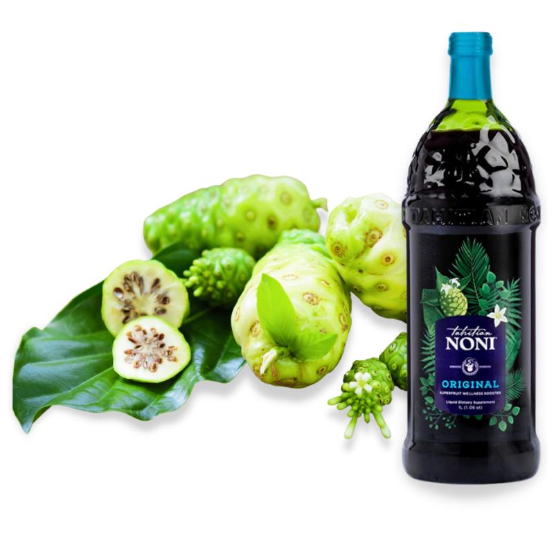 photo de la bouteille tahitian noni avec le fuit de noni
